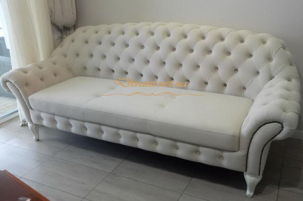 комплект мягкой белой мебели в стиле Честер