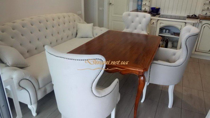 комплект мягкой белой мебели в стиле Честер на заказ