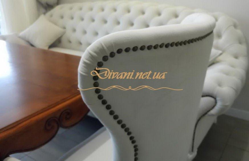 элитная мягкая мебель белого цвета Честер под заказ