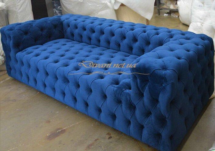 голубые диваны с перетяжкой