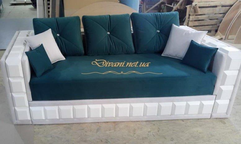 деревянный сине белый диван