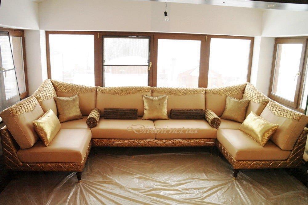 элитный п-образный диван с подуками