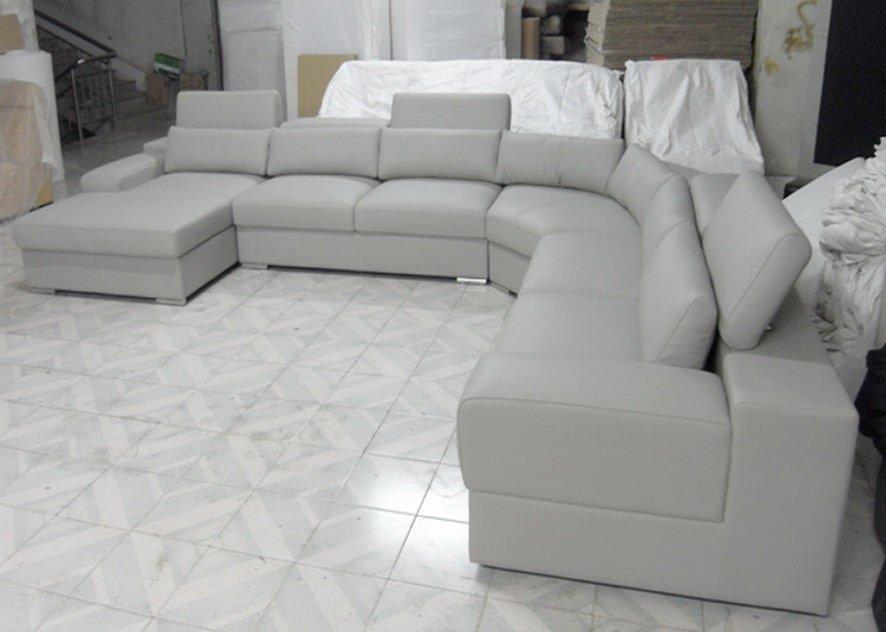 светло серый п-образный диван