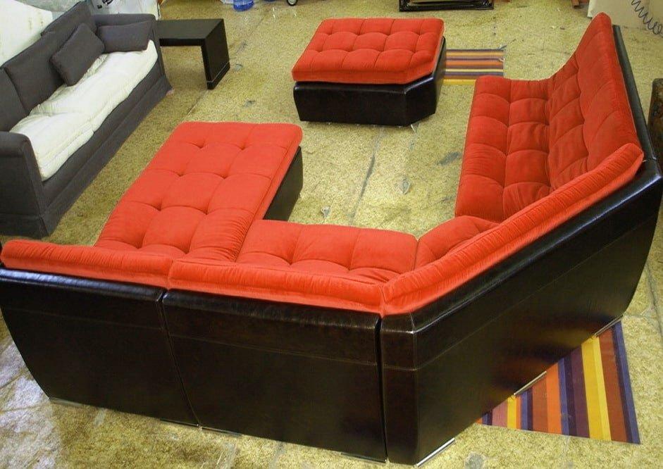 угловой диван с пуфом модульный на заказ