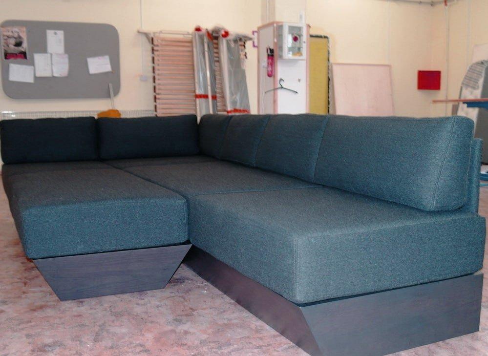 синий угловой диван на заказ