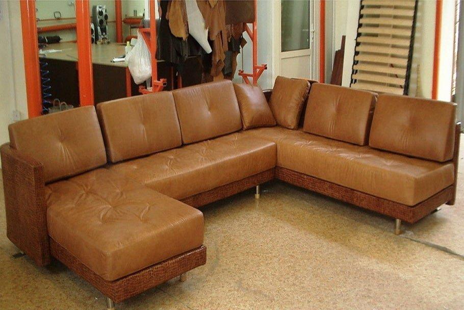 рыжийая нестандартная п образная мягкая мебель
