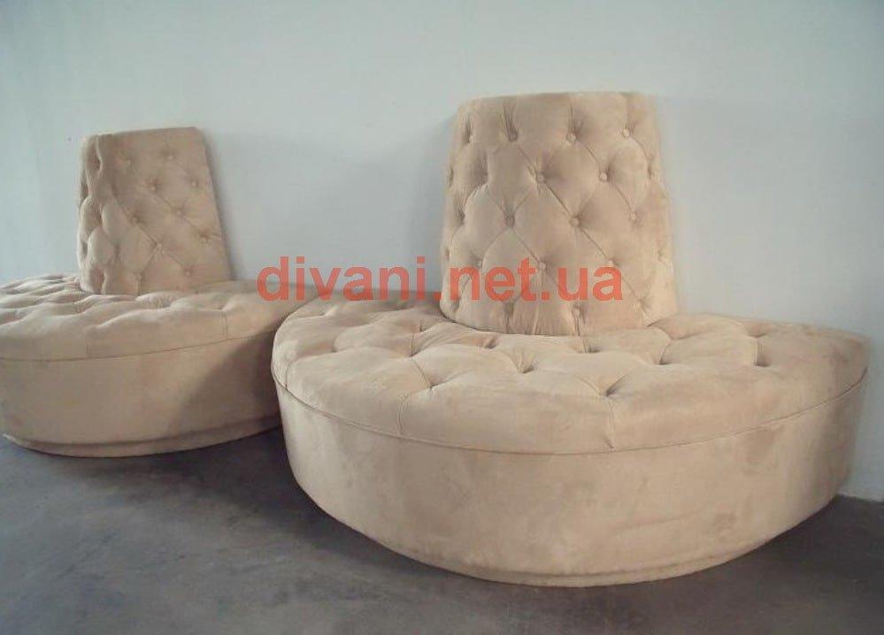 круглый диван из двух частей на заказ