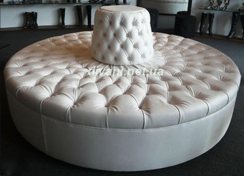 круглые диваны на заказ с каретной стяжкой