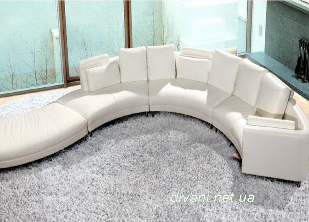 белый диван круглый с пуфом под заказ