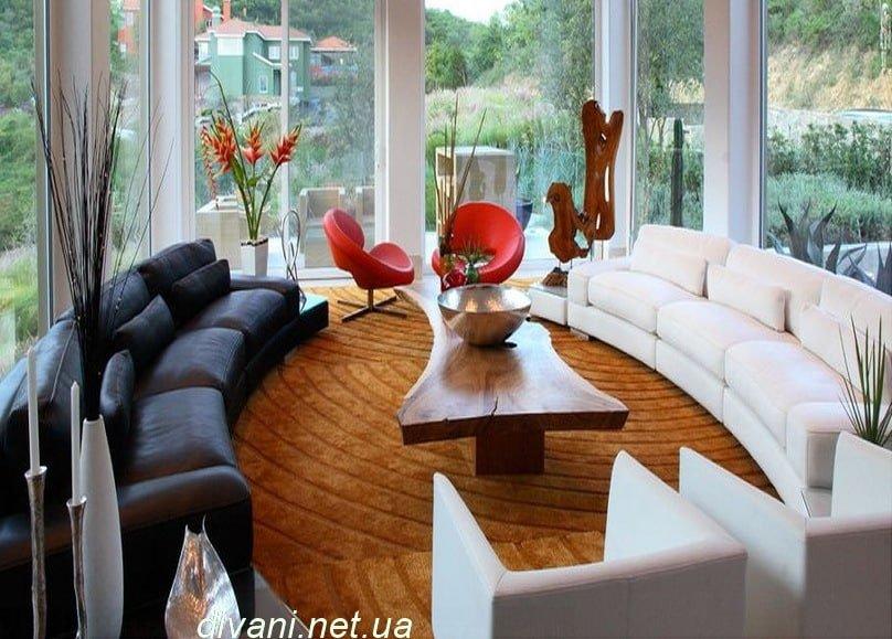 черный и белый диван радиусные