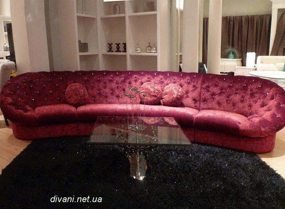 розовый диван круглый