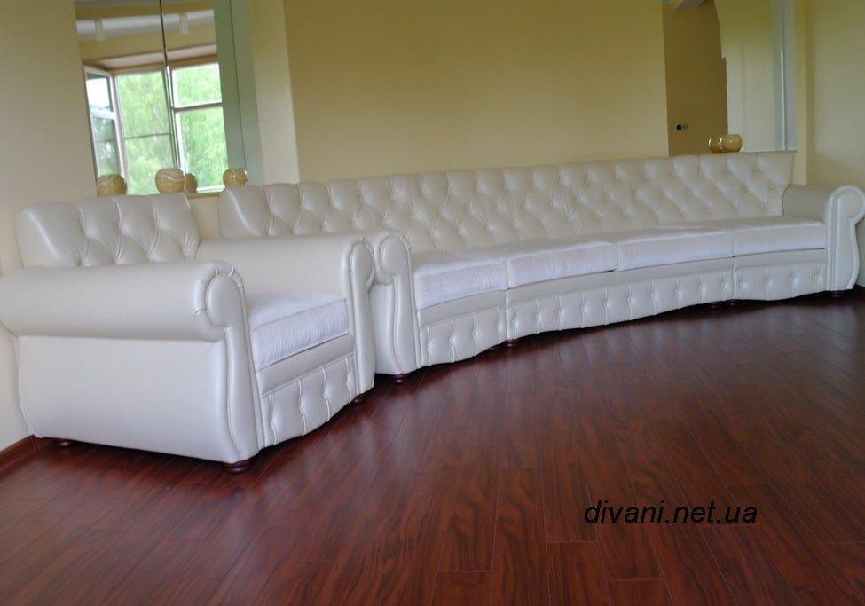 круглый диван честен белого цвета
