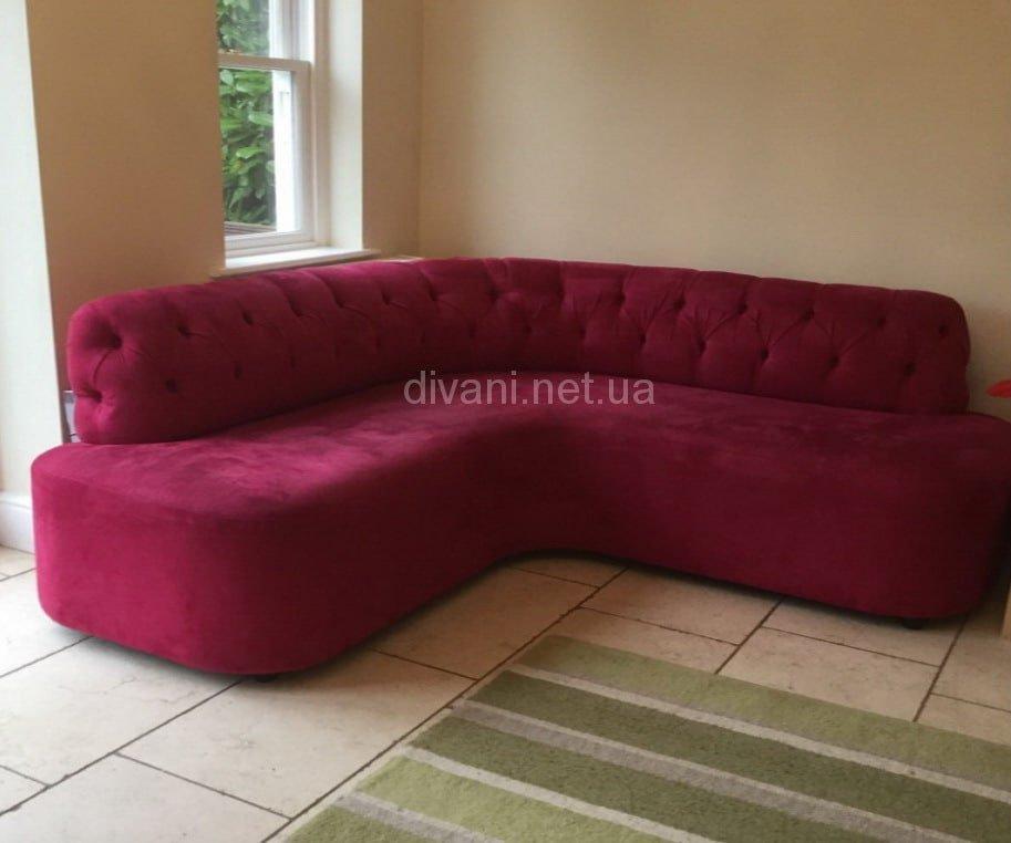 маленький малиновый угловой диван на заказ