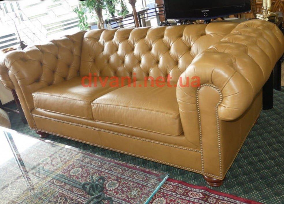 кожаный прямой диван