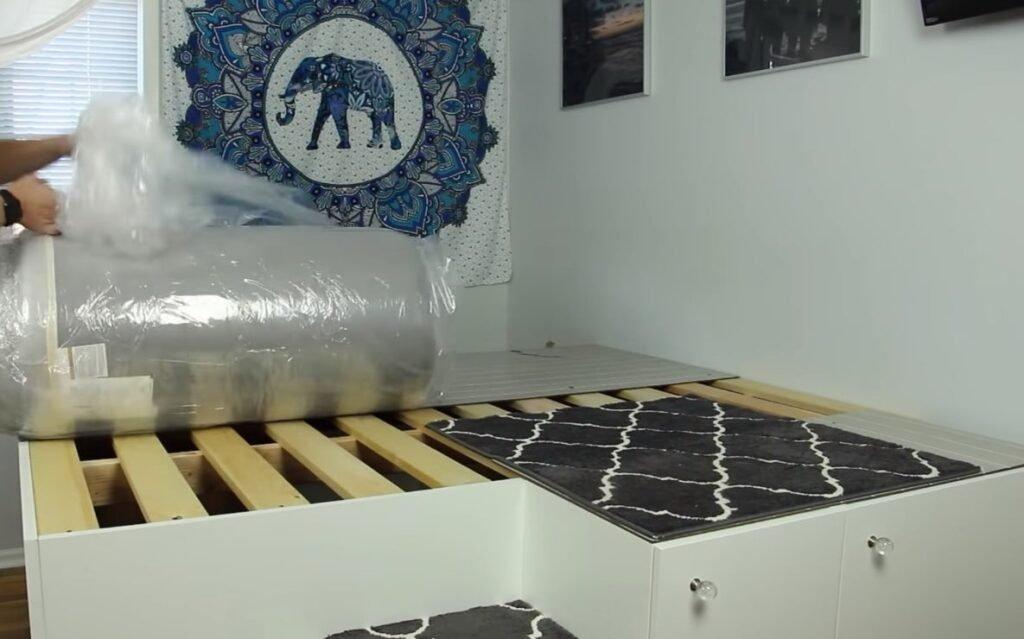 изготовить подиум под матрац с ящиками