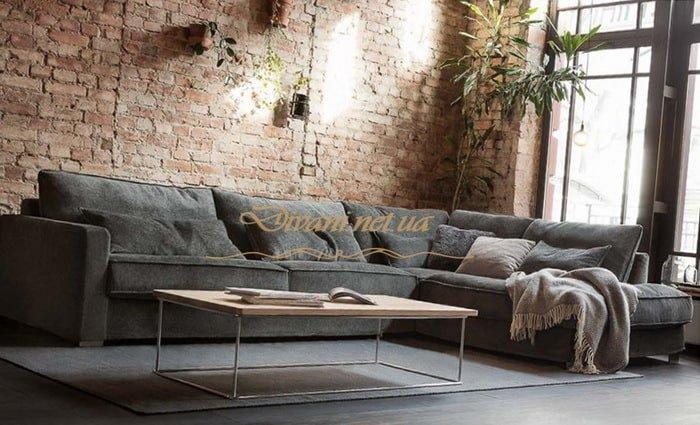 угловой диван лофт серый