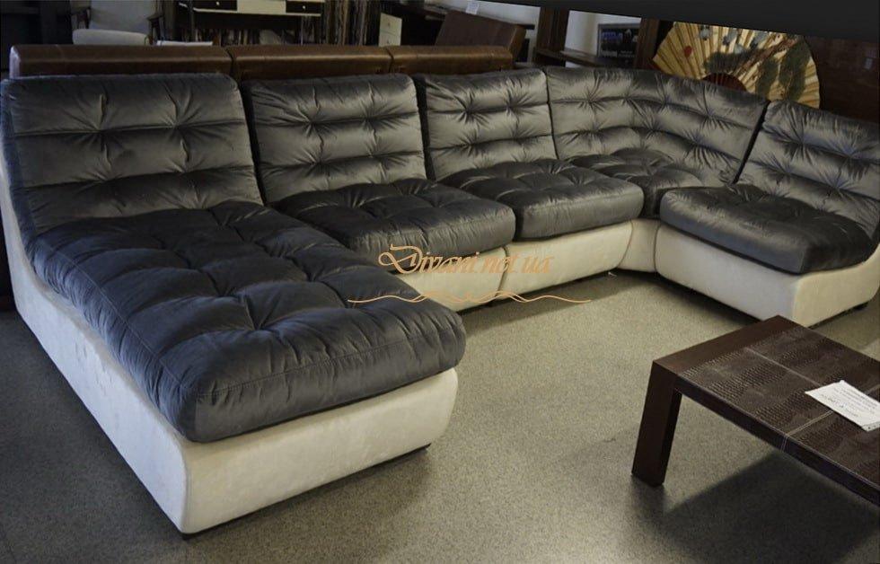 бело коричневый диван буквой п