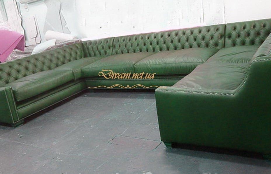 зеленый п-образный диван