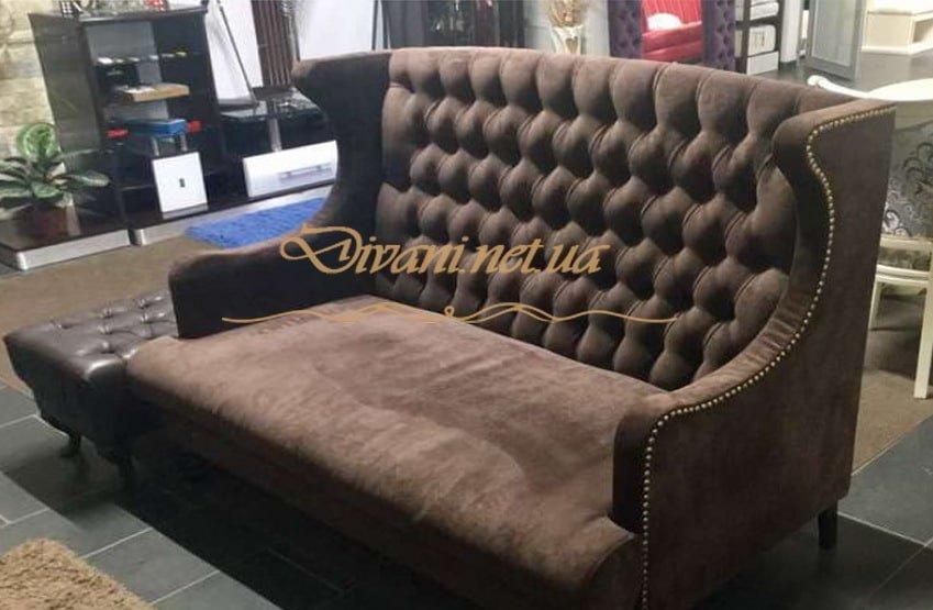 коричневый диван коретной стяжкой