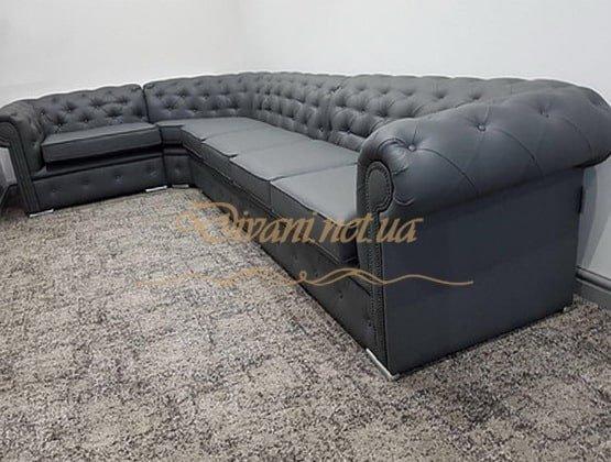 угловой синий диван честер