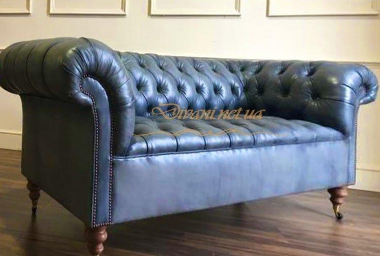 кожаный диван честер синий