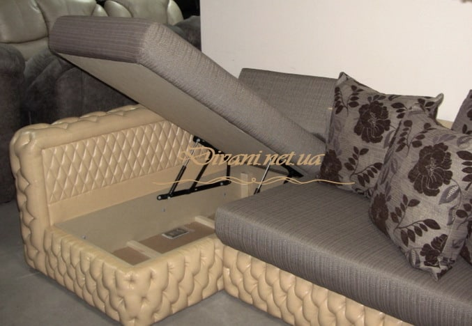 диван в гостиную с нишей для белья