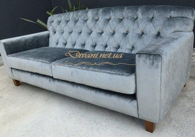 синий классический прямой диван