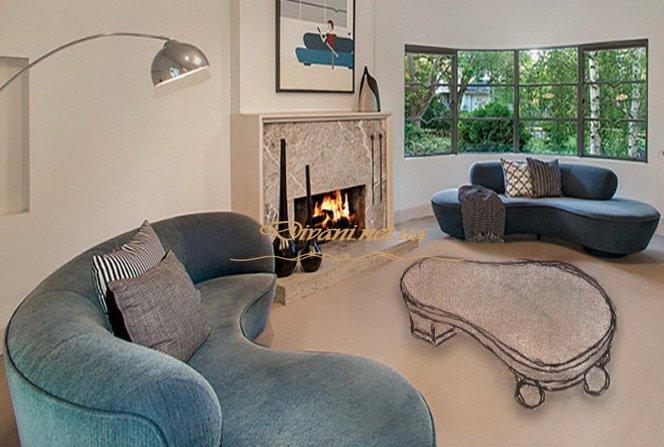 радиусный синий диван с подушками Ржищев