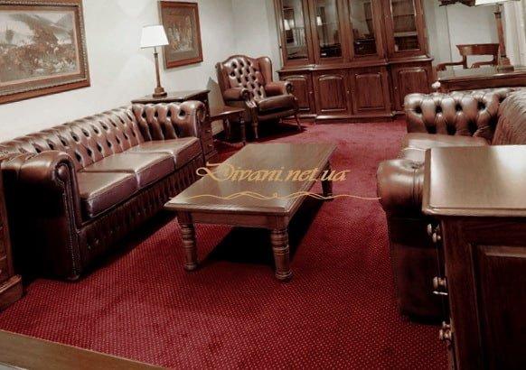 Комплект кожаной мягкой мебели Честер на заказ Тараща
