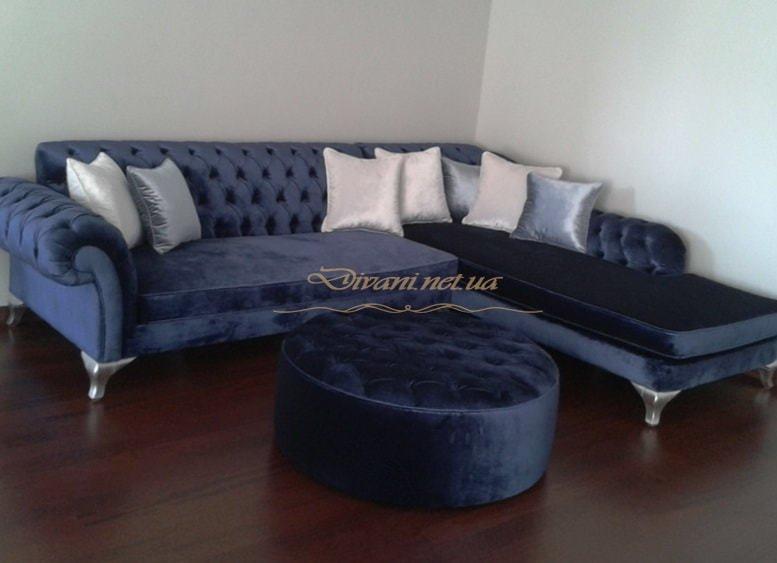 синий угловой диван с пуфиком