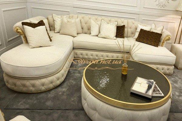 роскошный п образный диван с пуфом честер на заказ