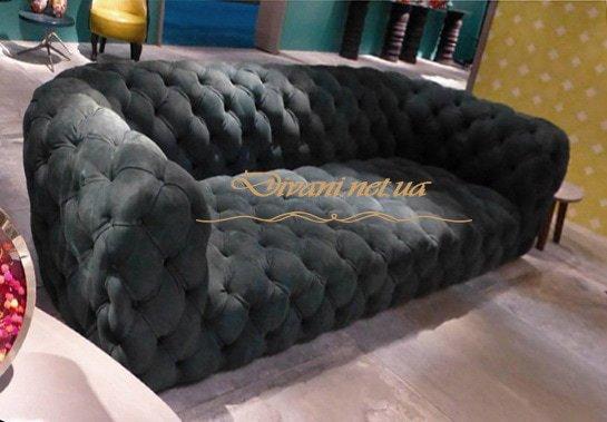 синий авторский прямой диван