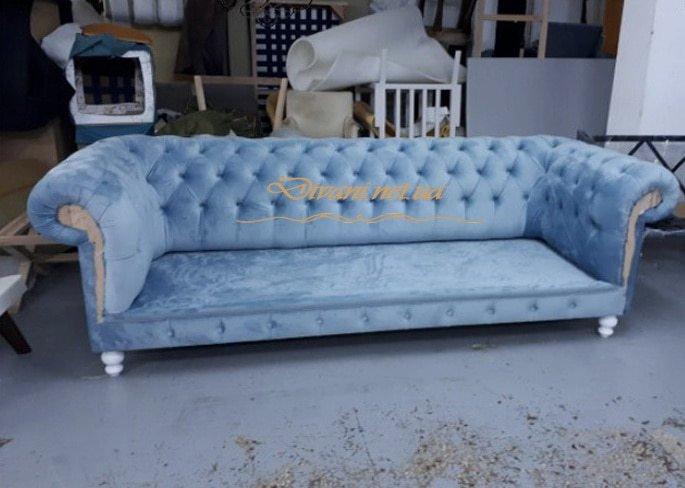 прямая мягкая мебель голубая
