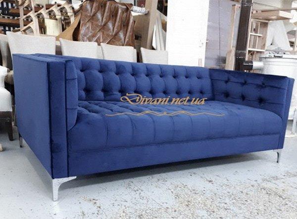 прямая мягкая мебель синяя