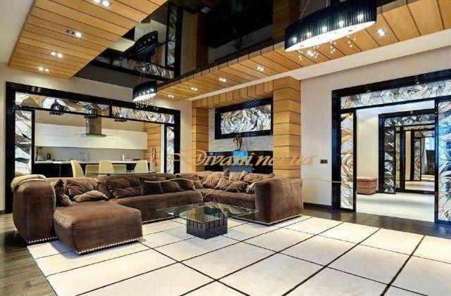 шикарный п образный диван в элитную квартиру под заказ