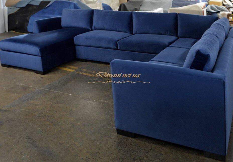 п образный диван синего цвета под заказ Черновцы