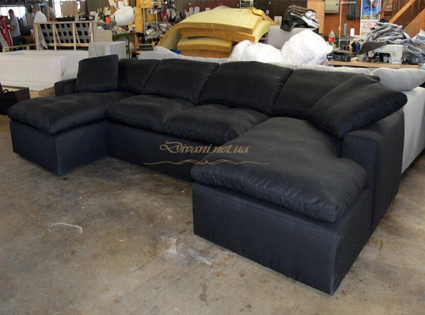 п образный диван на заказ черного цвета Вишневое