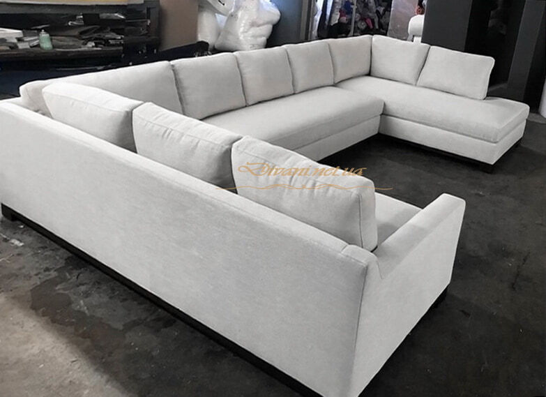 п образная мягкя мебель белого цвета на заказ