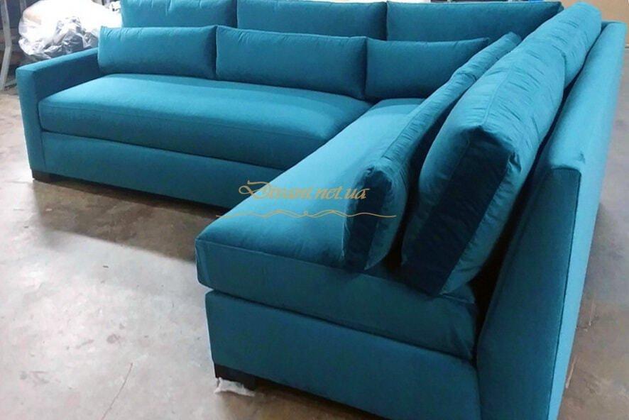 голубой красивый креативный диван в дом угловой