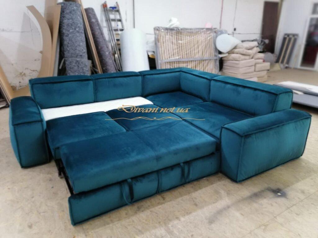 раскладной угловой синий диван со спальным местом фото