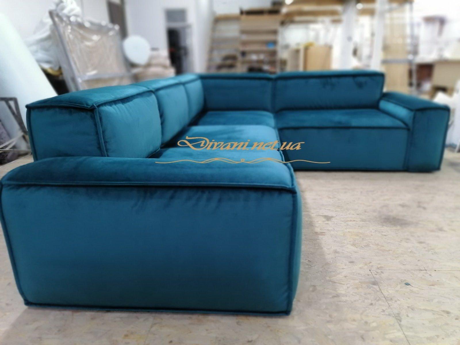 раскладной угловой синий диван под заказ