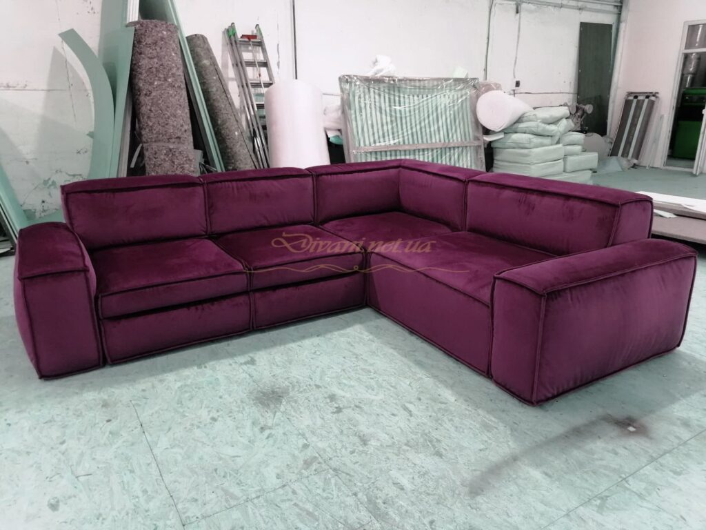 Малиновый угловой диван на заказ