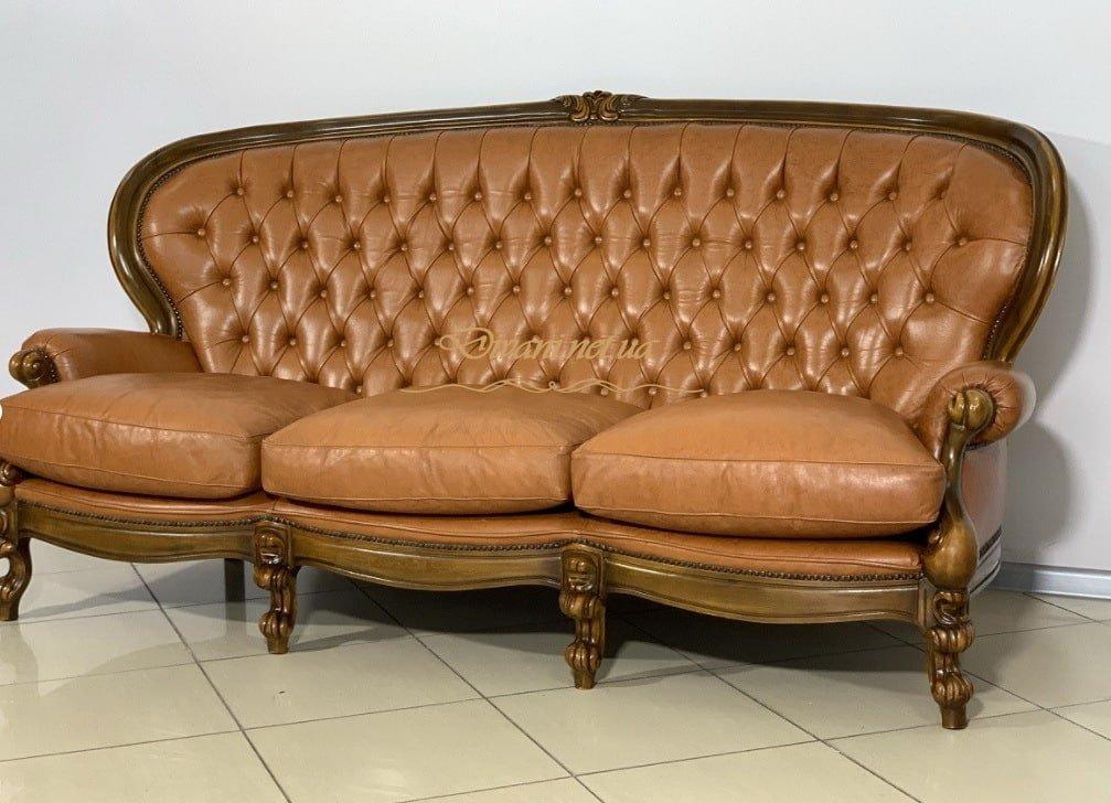 мягкая классическая мебель из кожи