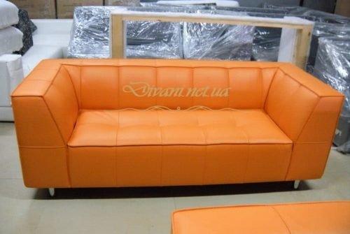рыжий диван кожаный